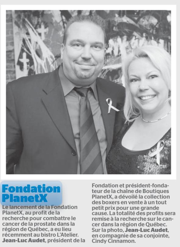 Mention du Lancement de la Fondation PlanetX dans le Journal de Québec
