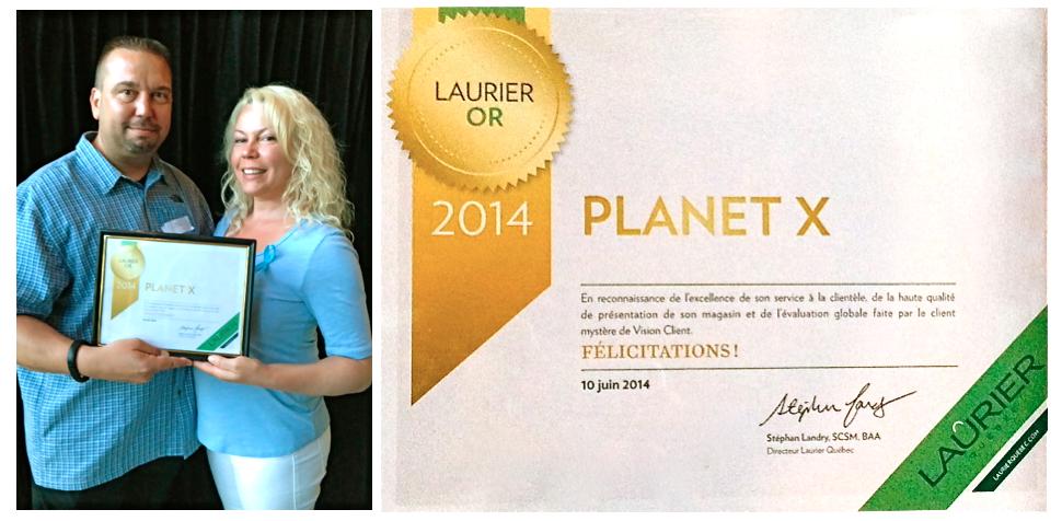 Jean-Luc Audet et Cindy Cinnamon gagnants du Laurier OR 2014 pour les Boutiques PlanetX