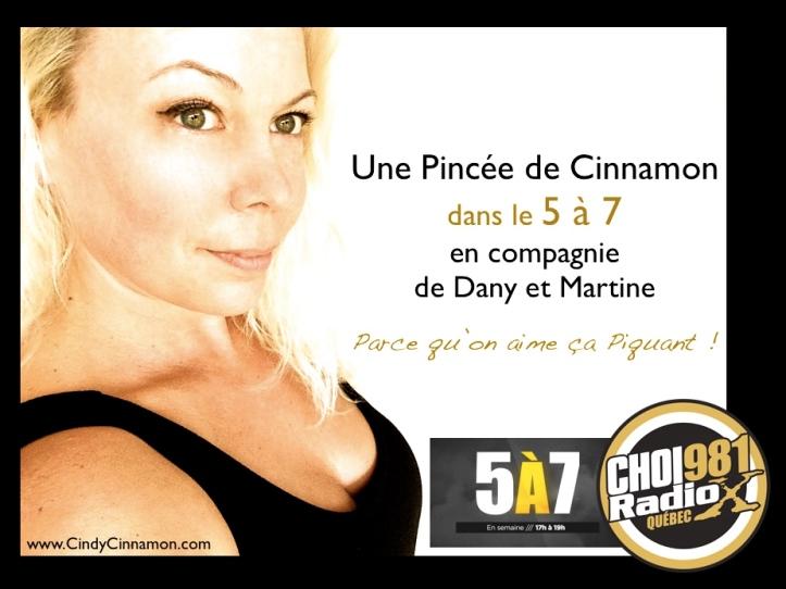 Cindy Cinnamon dans le 5 à 7 à CHOI RadioX