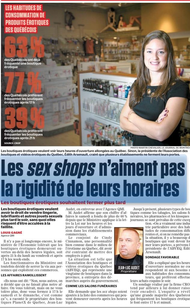 Journal de Québec et Journal de Montréal: Les heures d'ouverture des Boutiques Érotiques au Québec